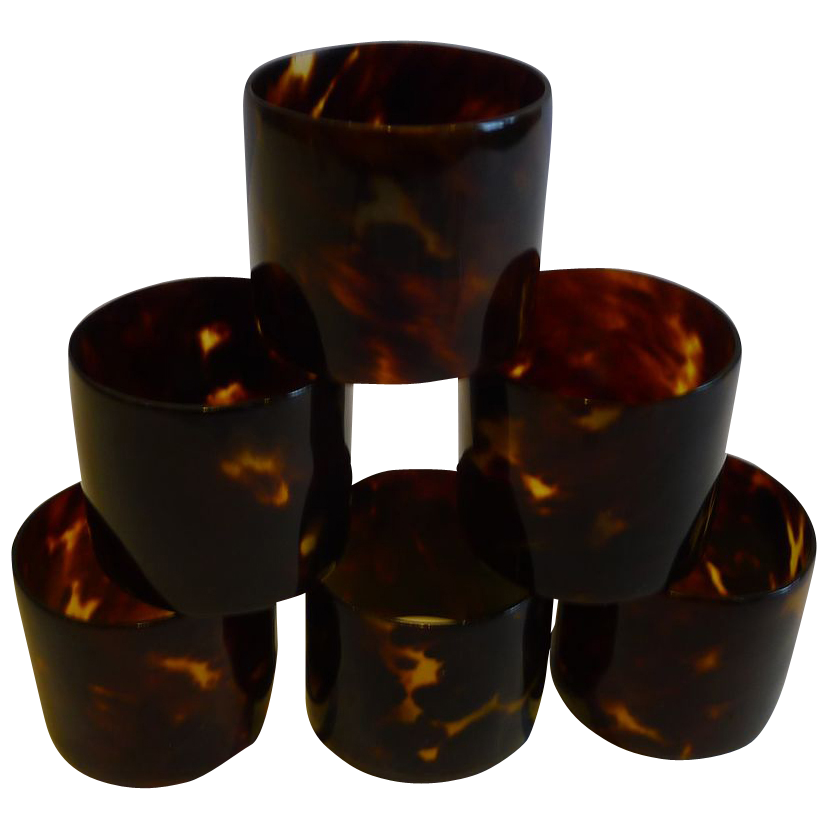 Set Six Antique English Tortoiseshell Napkin Rings c.1900