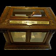 Rare & Grand Antique English Carved Oak Letters / Postal Box by Halstaff & Hannaford, London c.1870