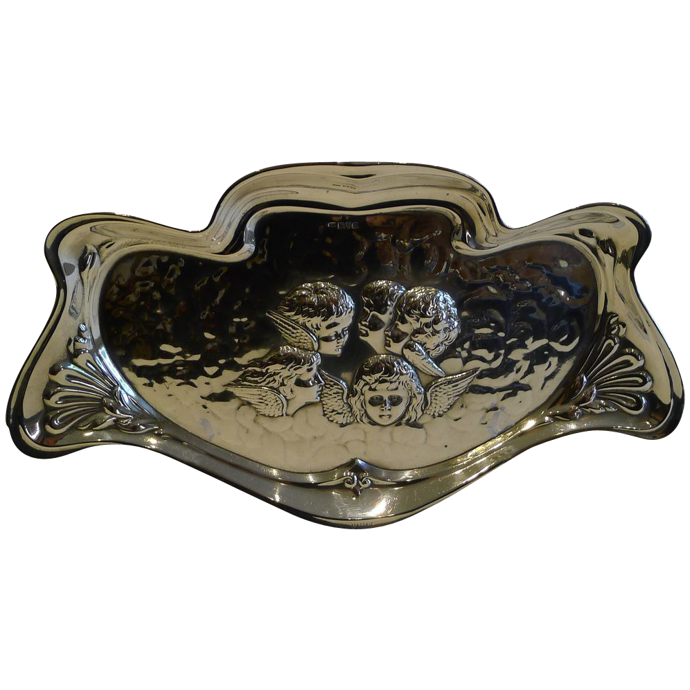 Large Antique English Art Nouveau Sterling Silver Tray - Reynold's Angels - 1907