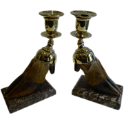 English Victorian Taxidermy Hoof & Brass Candlesticks c.1880