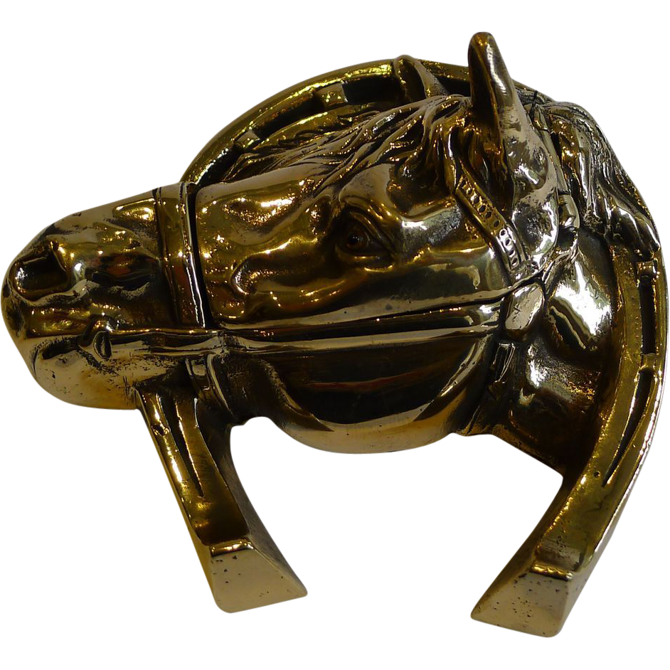 Antique English Equestrian Inkwell In Solid Brass - Horse's Head c.1890