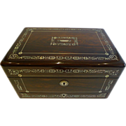 Fabulous Large English William IV Mother or Pearl Inlaid Rosewood Jewelry Box c.1835 - Red Tag Sale Item