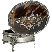 Superb Antique English Sterling Silver and Tortoise Shell jewelry Box by Charles Boyton