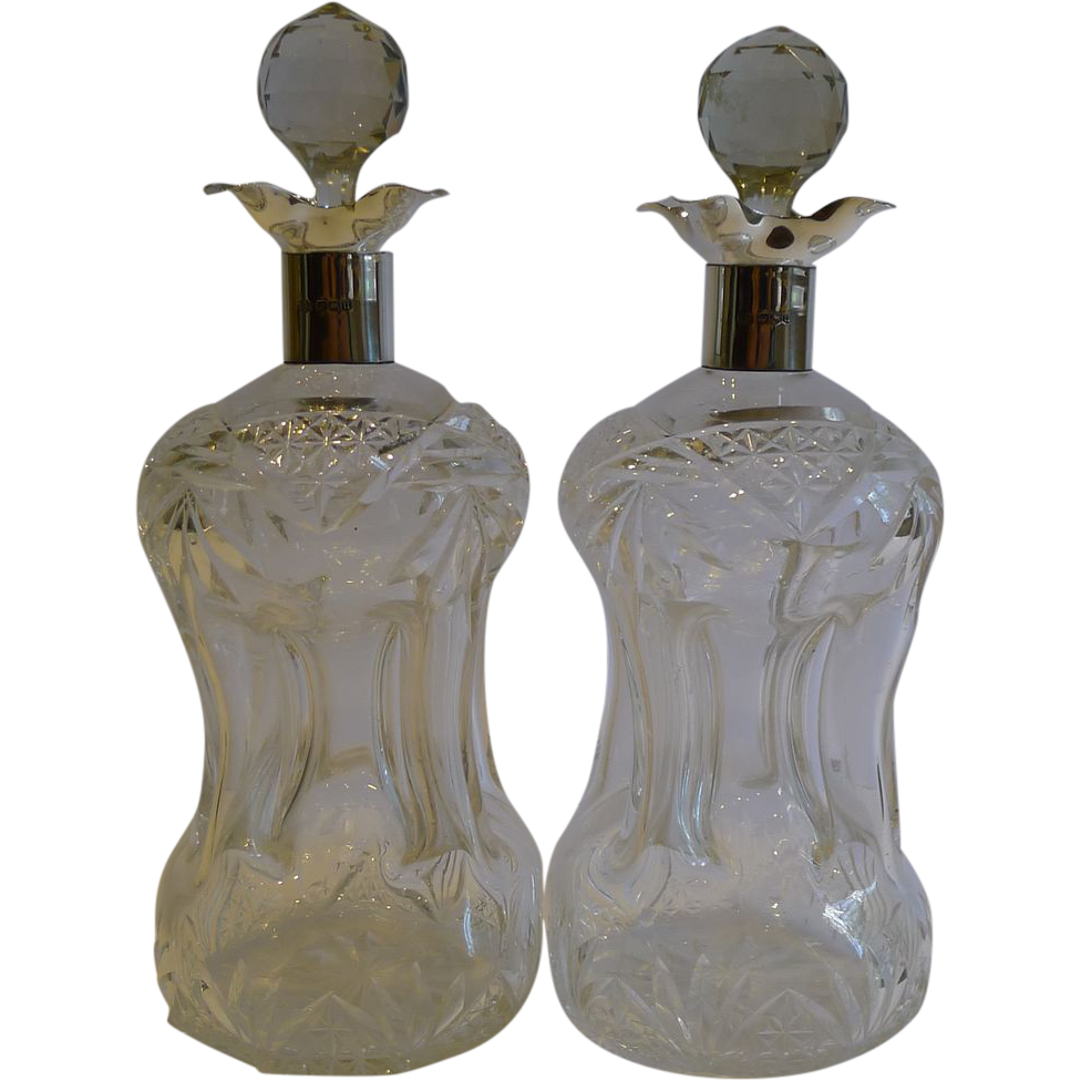 Top Notch Pair of Cut Crystal & Sterling Silver Decanters by William Hutton & Sons