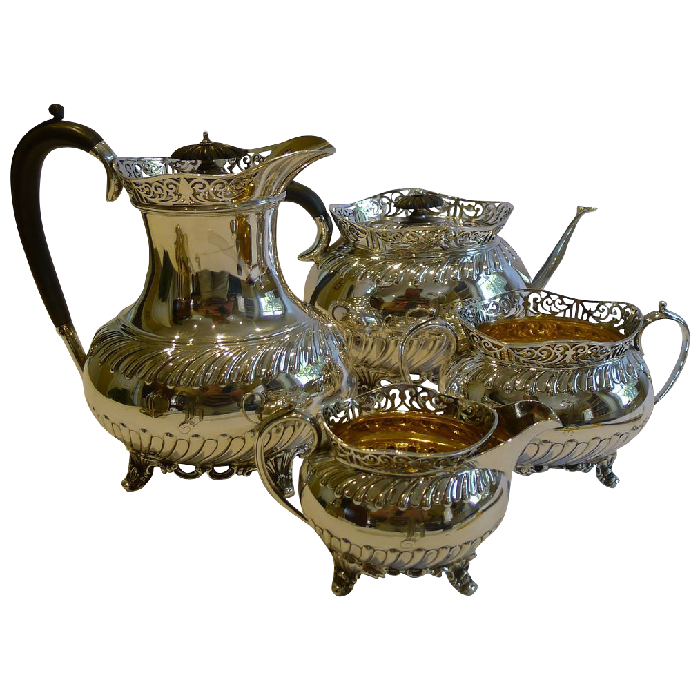 Magnificent and Unusual Antique English Tea Service by Roberts and Belk c.1890