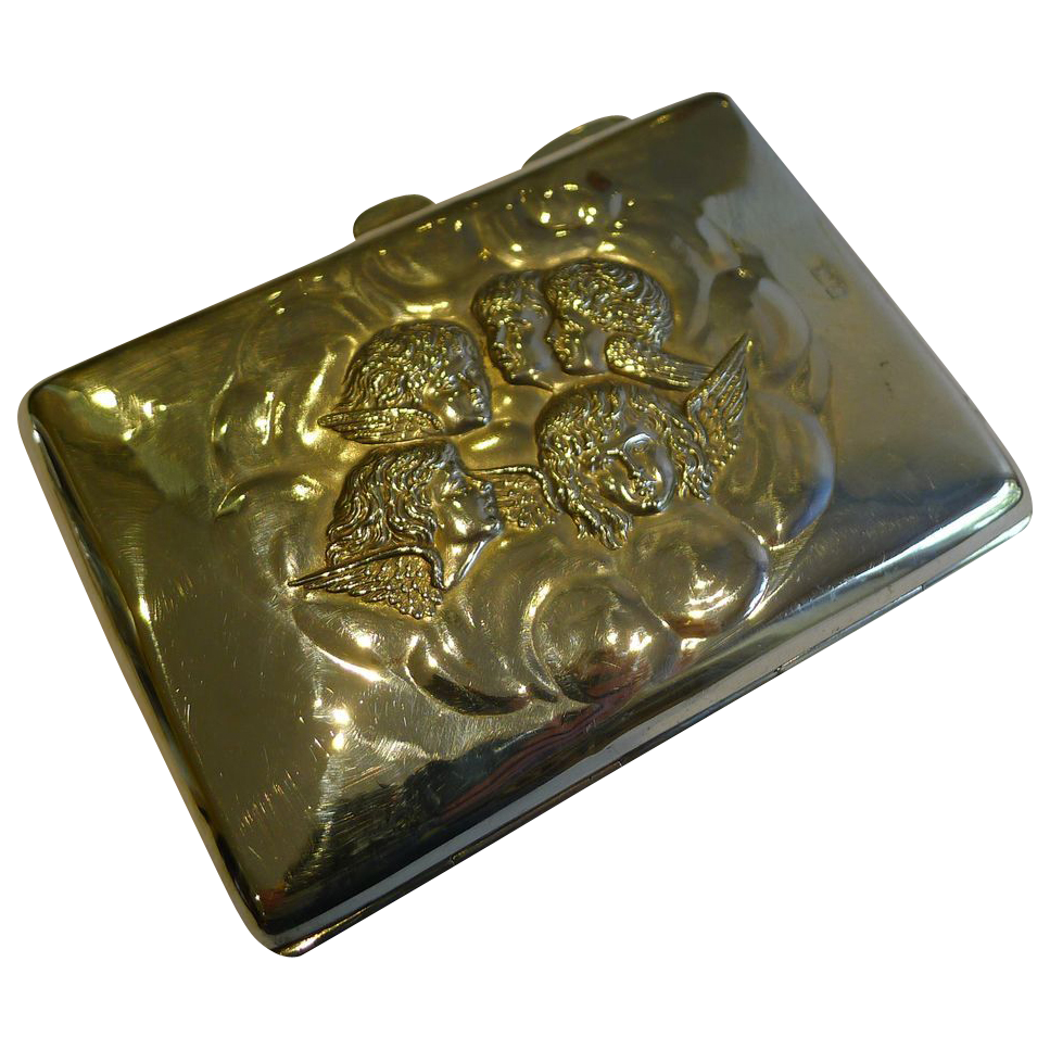 Top-Notch Antique English Sterling Silver Card Case - Reynold's Angels