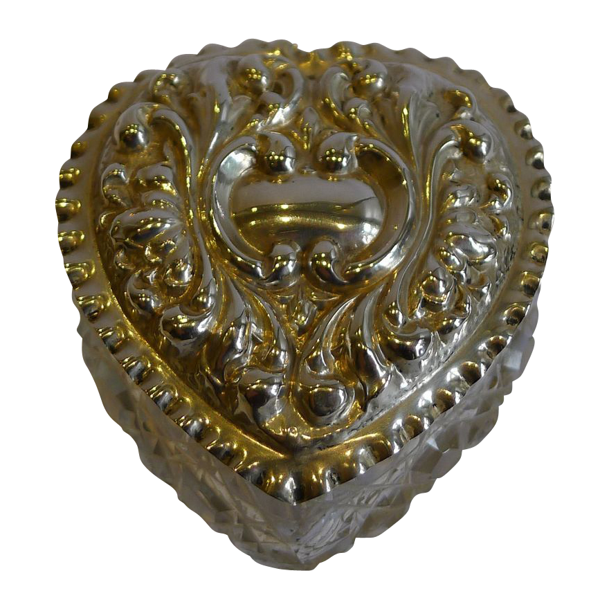 Antique English Cut Glass & Sterling Silver Heart Box - Birmingham 1903