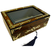 Brass Mounted Burl Walnut Jewelry Box c.1860 - Glazed Lid