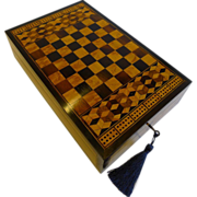 Rare Antique English Tunbridge Ware Games Box / Chess / Table Bagatelle c.1860
