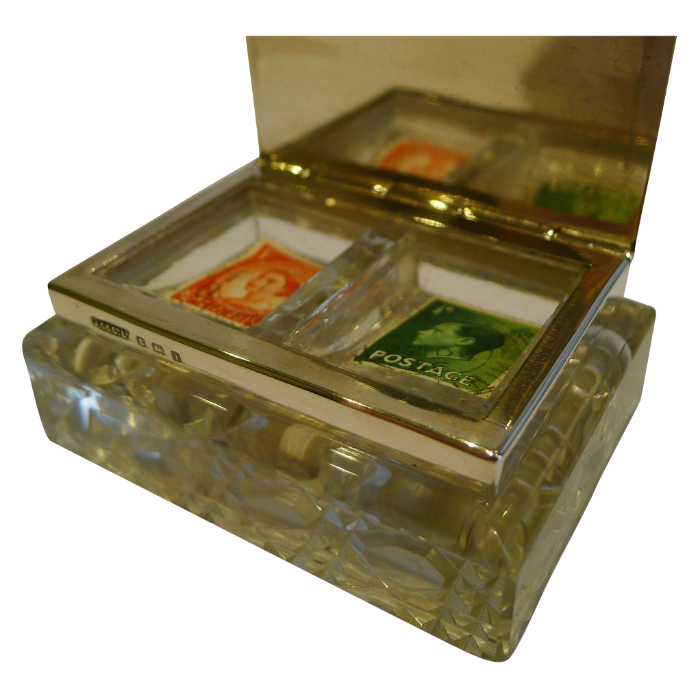 Unusual Antique English Cut Crystal & Sterling Silver Double Postage Stamp Box