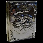 Top-Notch Antique English Sterling Silver Card Case - Reynold's Angels / Cherubs.