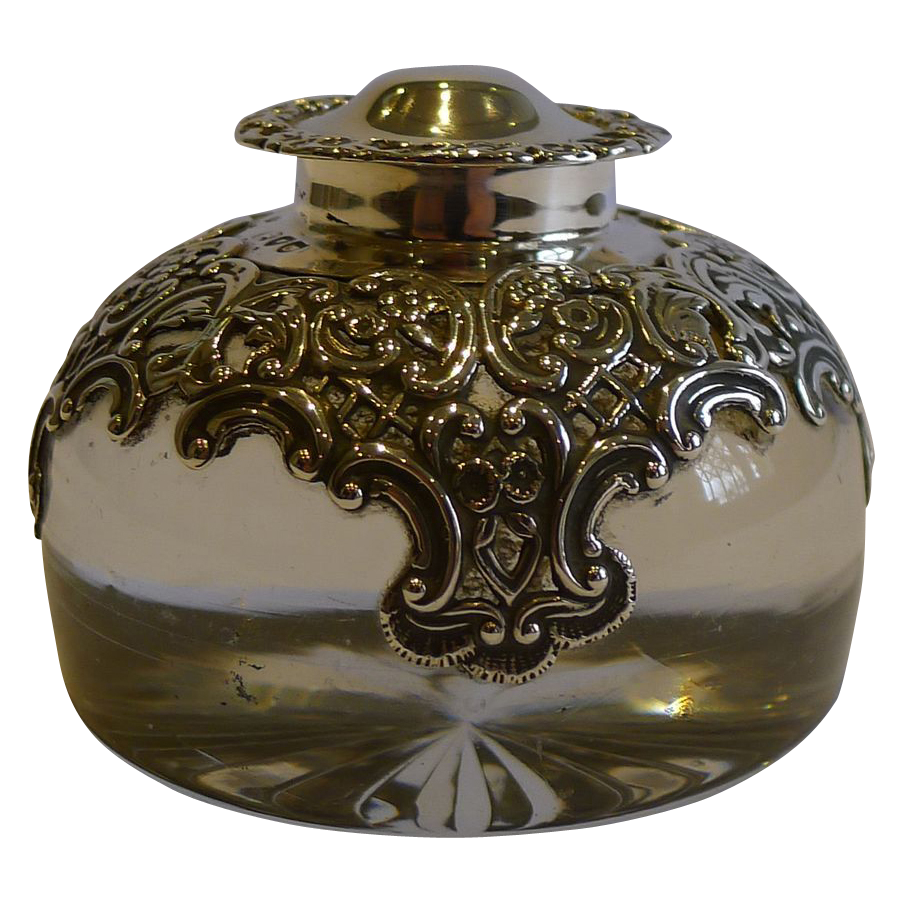 Stunning English Glass & Sterling Silver Inkwell by William Comyns - 1895