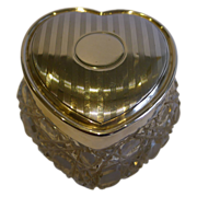 Antique English Cut Crystal & Sterling Silver Heart Shaped Box - 1909