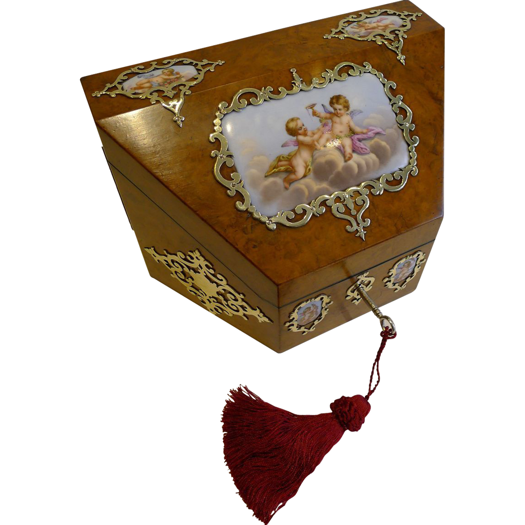 Magical Antique English Burr Walnut & Hand-Painted Porcelain Stationery Box c.1850