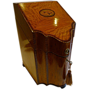 Magnificent English Sheraton Satinwood Shell Inlaid Knife Box - Converted To Stationery c.1790