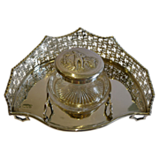 Grand Antique English Sterling Silver Inkwell - London 1899