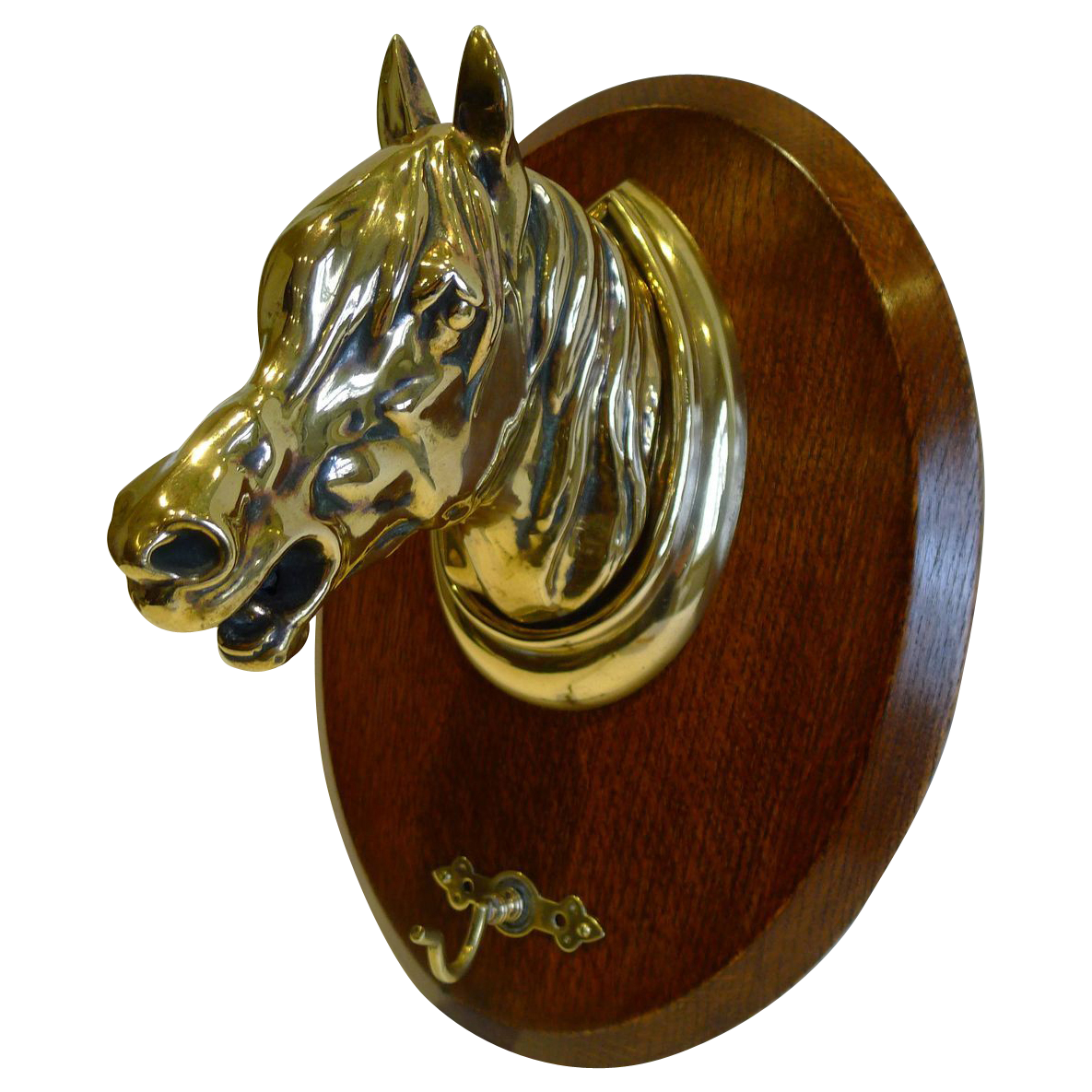 Antique English Oak & Brass Equestrian Crop Hook - Horse's Head c.1890