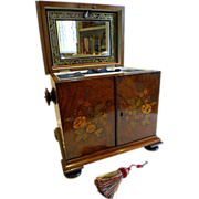 Magnificent Antique English Marquetry Inlaid Walnut Compendium c.1820