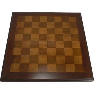 Antique Chess / Draughts / Checkers Board In Mahogany c.1900