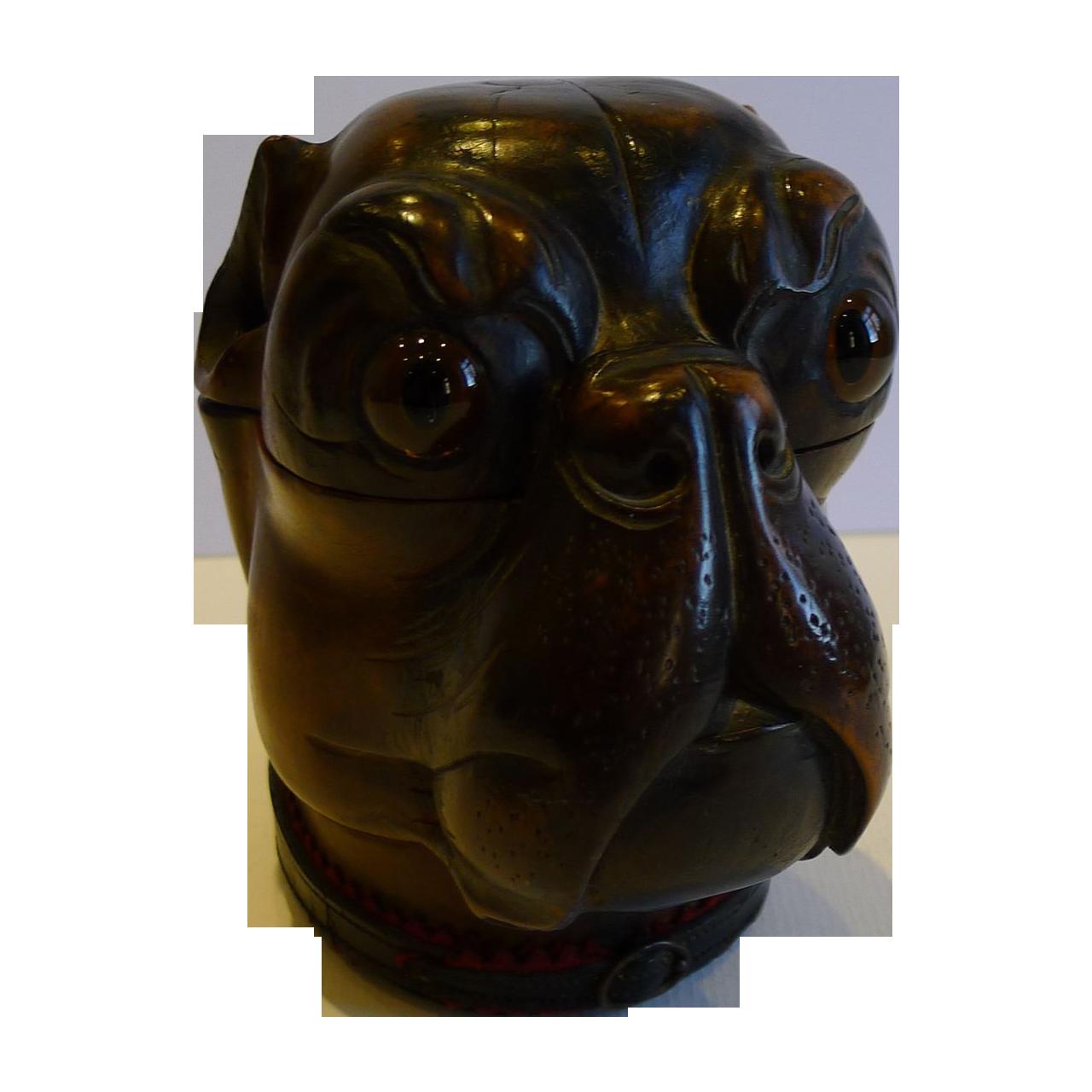 Handsome Large Antique Wooden Black Forest Dog Inkwell c.1890