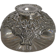 Large English Glass & Sterling Silver Inkwell by William Comyns - 1902