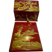 Antique English Edwardian Red Chinoiserie Desk Set c.1910