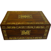 English Regency Jewelry or Desk Box - Cut Brass Inlaid c.1820