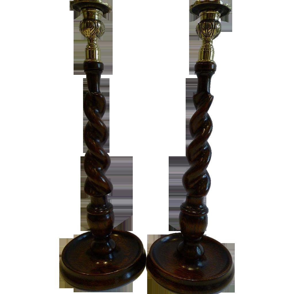 "Towering Antique English Oak & Brass Barley Twist Candlesticks c.1900 - 14"""
