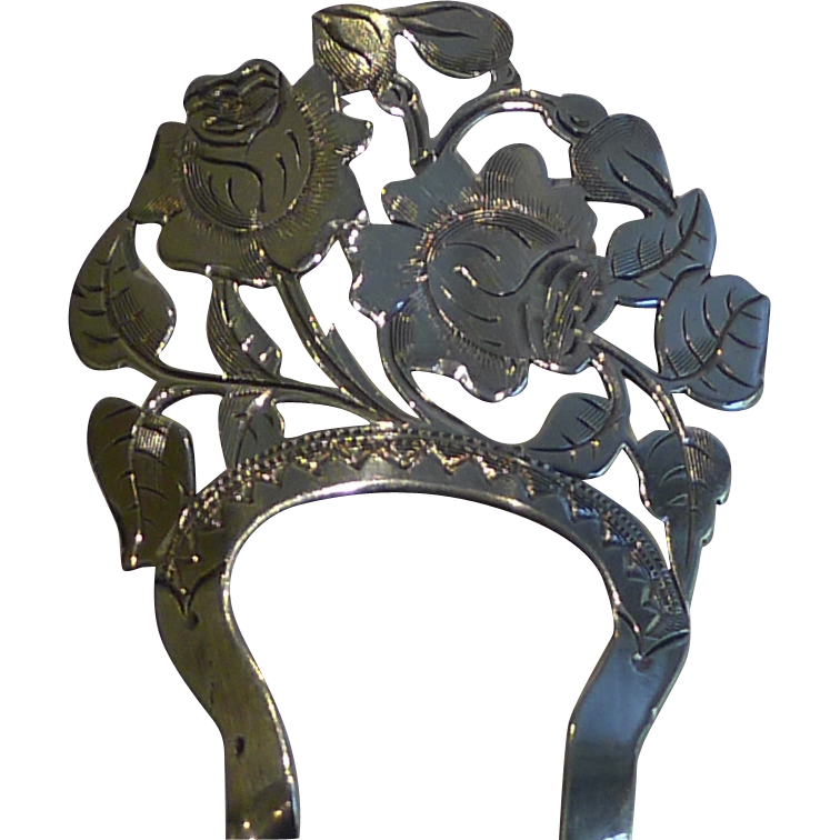 Quality Edwardian Sterling Silver Hair Comb - Roses - 1905