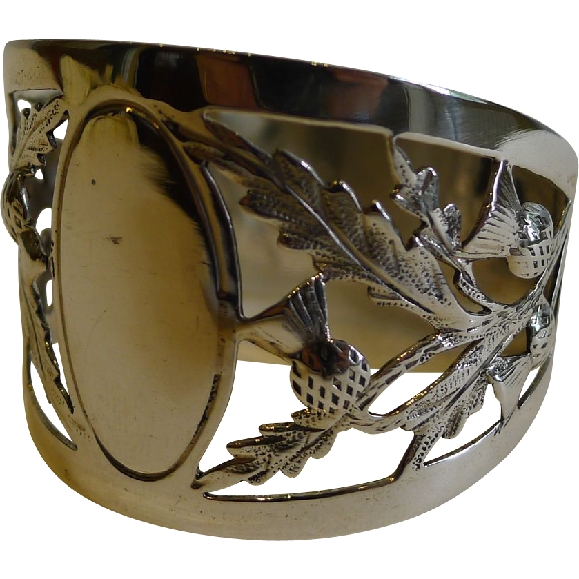 Antique English Sterling Silver Napkin Ring - Scottish Thistles - 1914