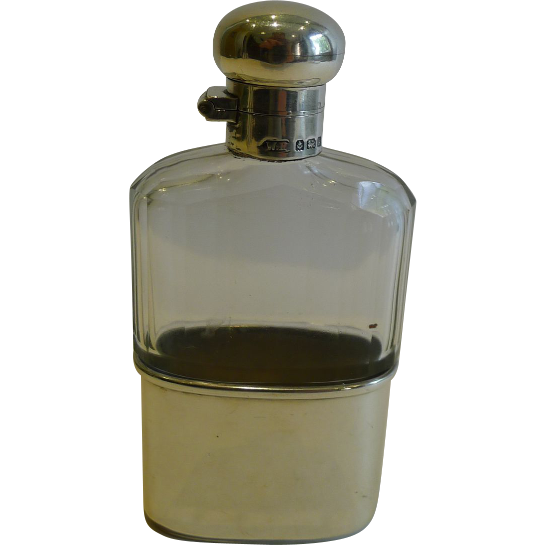 Small Antique English Glass & Sterling Silver Hip / Liquor Flask