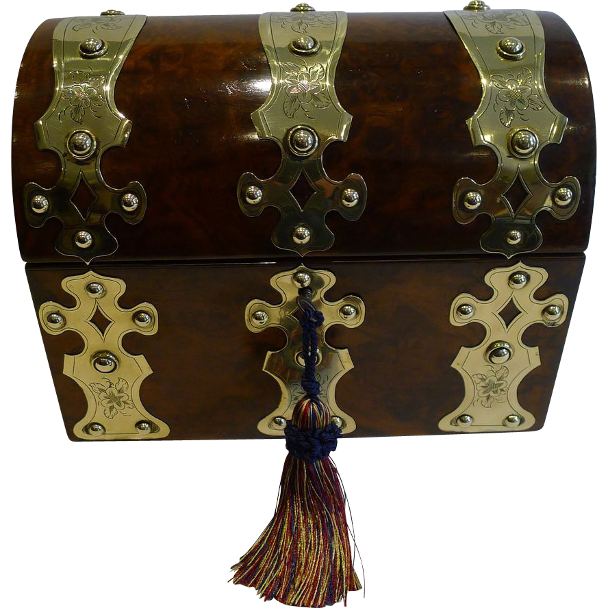 Oversized Antique English Walnut & Brass Tea Caddy c.1860