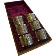 Set Six Antique English Napkin Rings In Original Oak Presentation Box c.1890