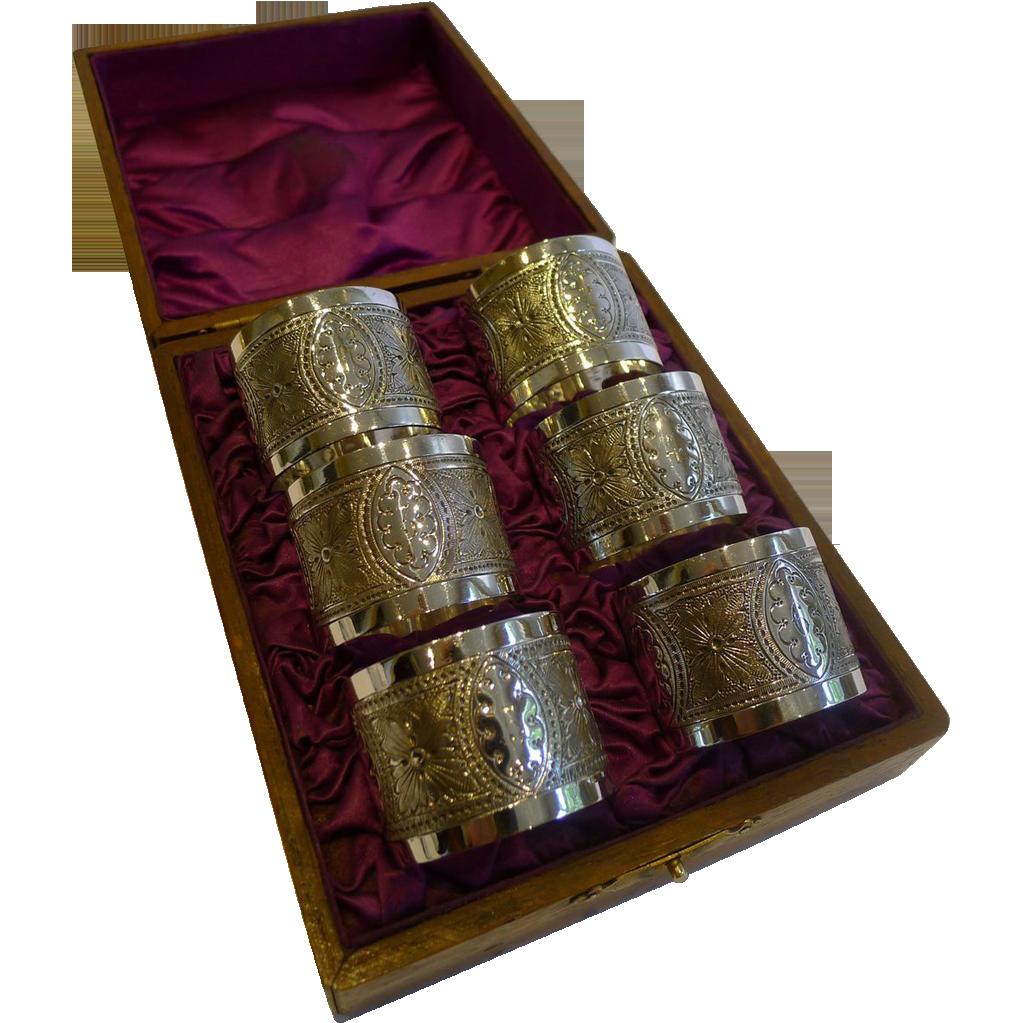 Set Six Antique English Napkin Rings In Original Oak Presentation Box c.1890