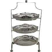 Stunning Antique English Silver Plated Three Tier Cake Stand c.1900