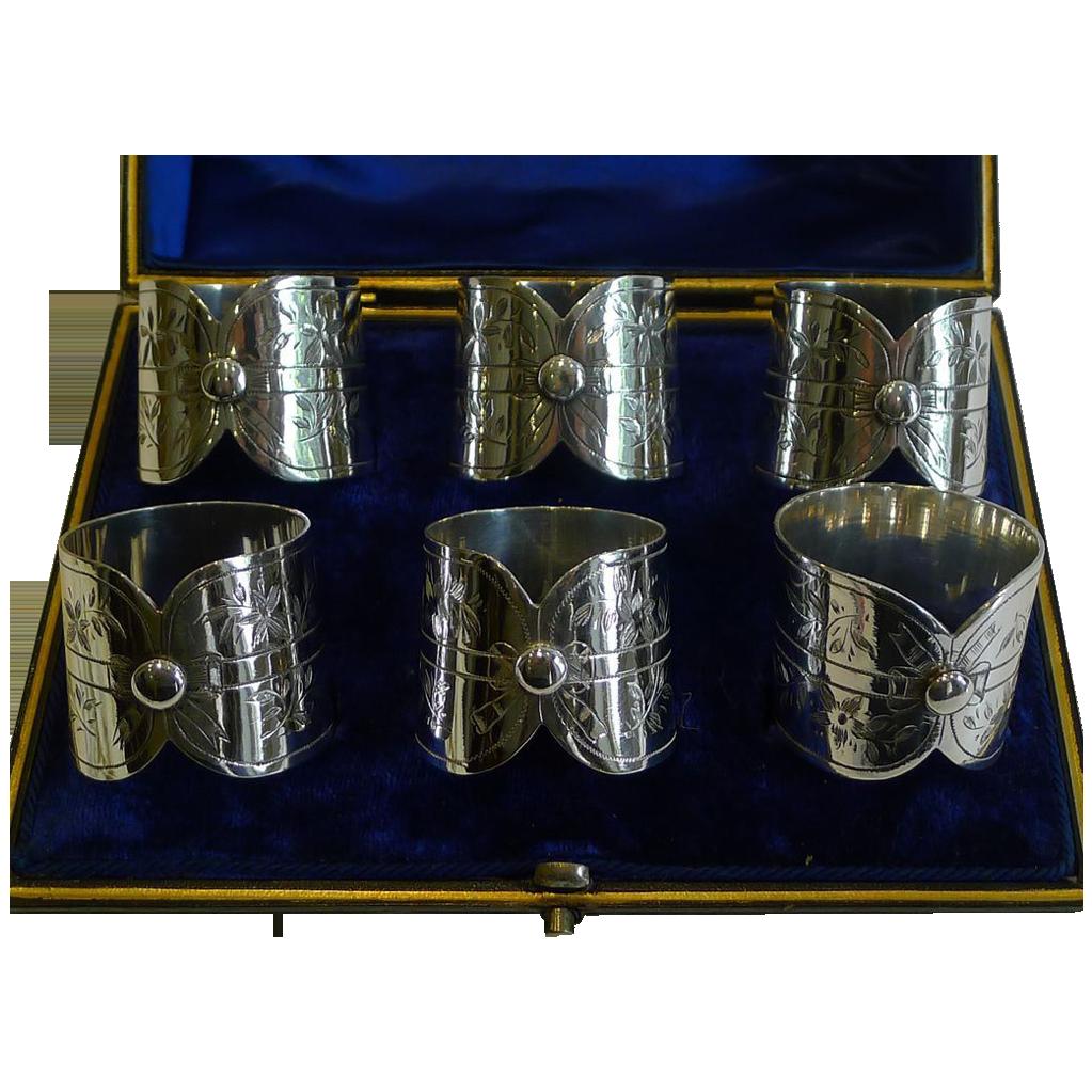 Unusual Pretty Antique English Napkin Rings c.1900 in Silver Plate