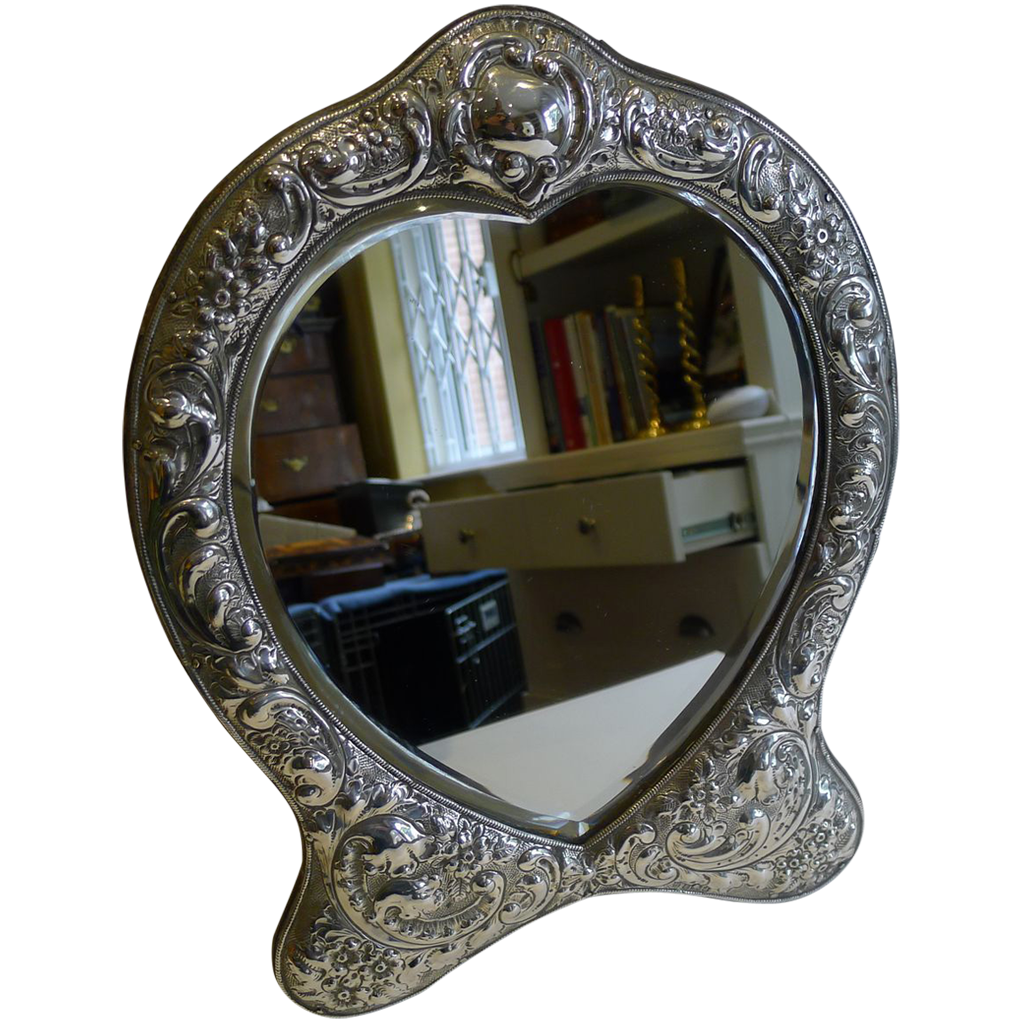 Fabulous large antique english sterling silver mirror for Big silver mirror