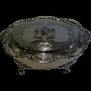 Pretty Antique English Sterling Silver Jewelry Box - 1906