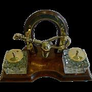 Antique English Equestrian / Hunting Desk Set / Inkwell c.1890