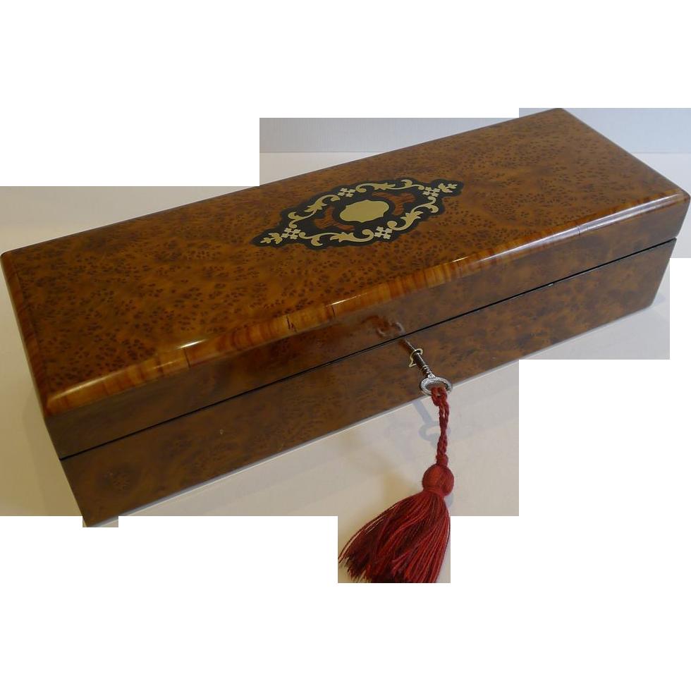 Antique French Burr Cedar Glove Box c. 1870 - Original Tufted Silk Interior