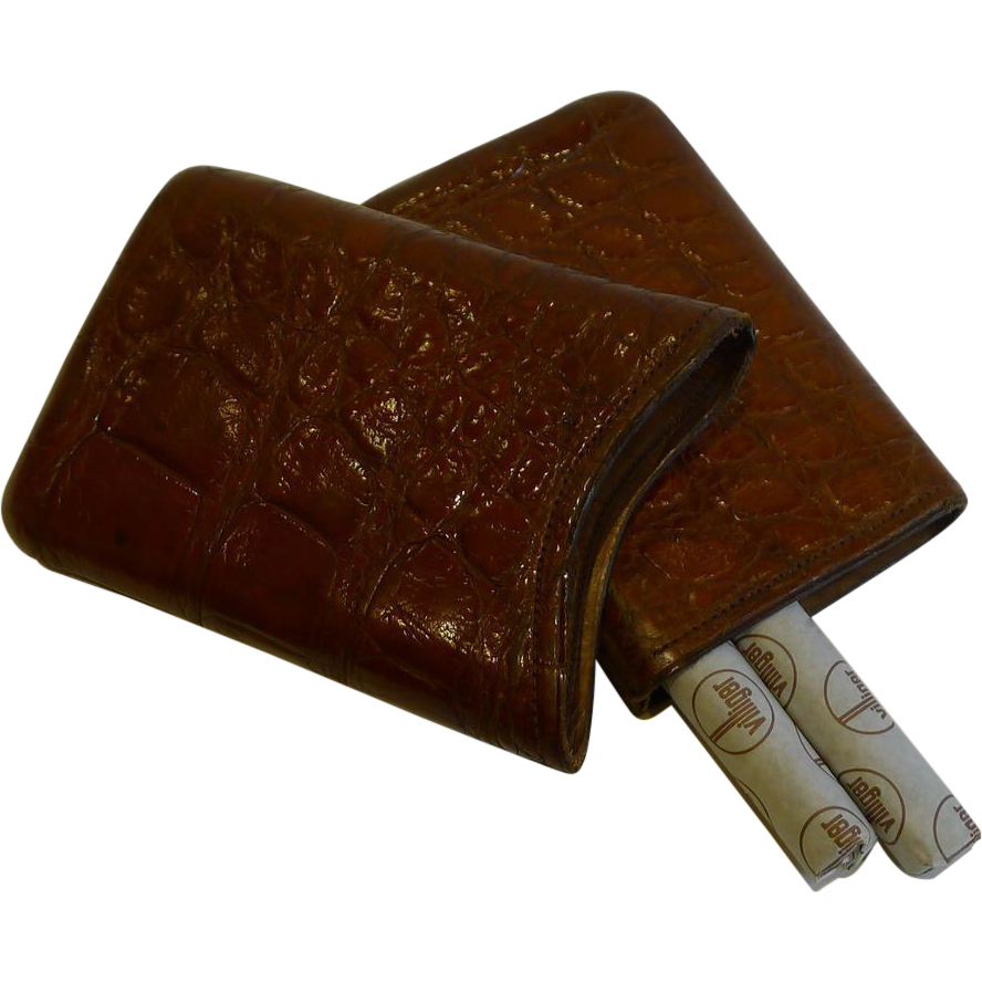 Handsome Antique English Crocodile / Alligator Cigar Case c.1890