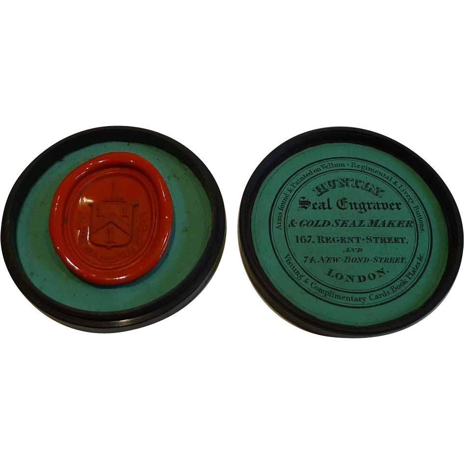 Antique English Turned Ebony Wood Seal Box With Seal c.1830