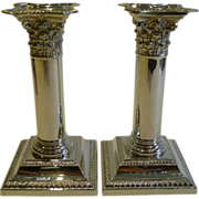 Pair Antique English Sterling Silver Candlesticks by Henry Matthews - 1896