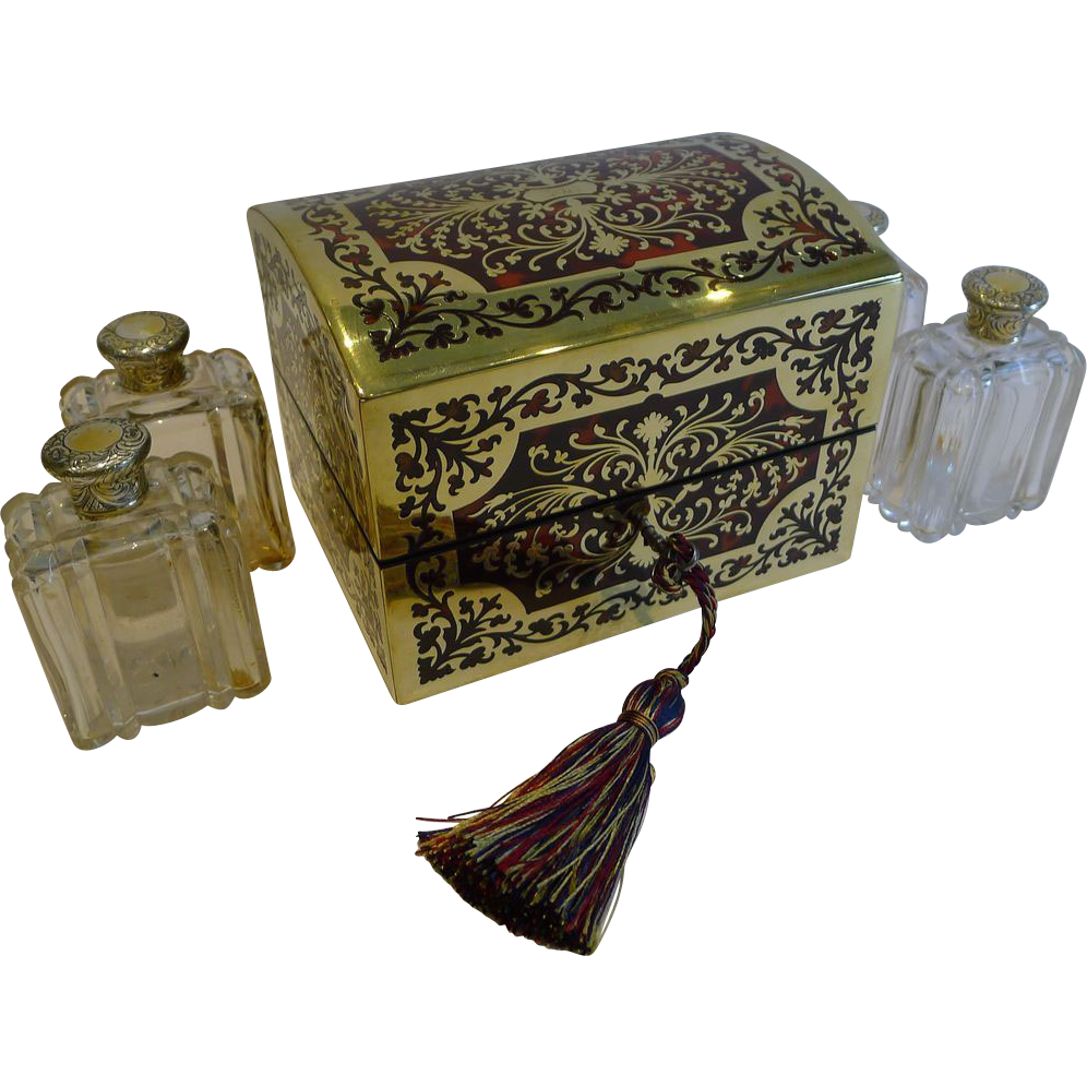 Exceptional Antique English Boulle Scent Bottle Box / Casket c.1830