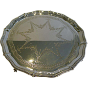 """Elegant Antique English Silver Plated Salver or Tray - 16 1/2"""" c.1890"""