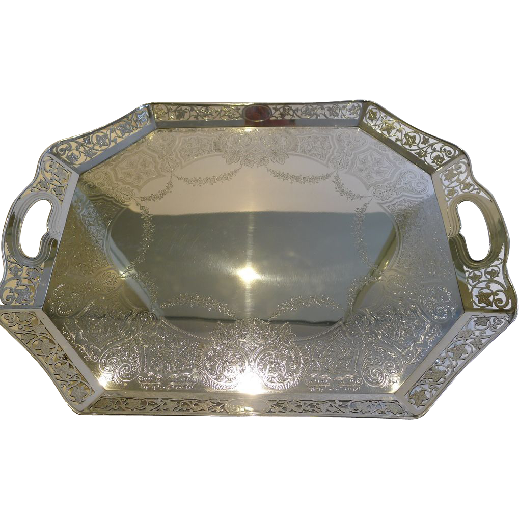 Magnificent Antique English Reticulated Serving Tray by Lee & Wigfull c.1880