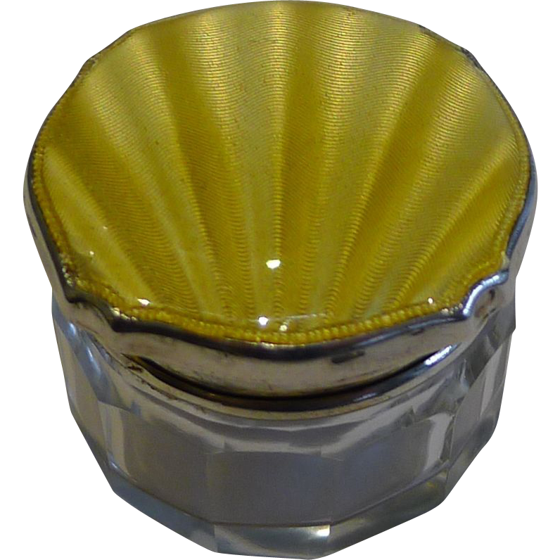 English Sterling Silver & yellow Guilloche Enamel Lidded Pot - 1936