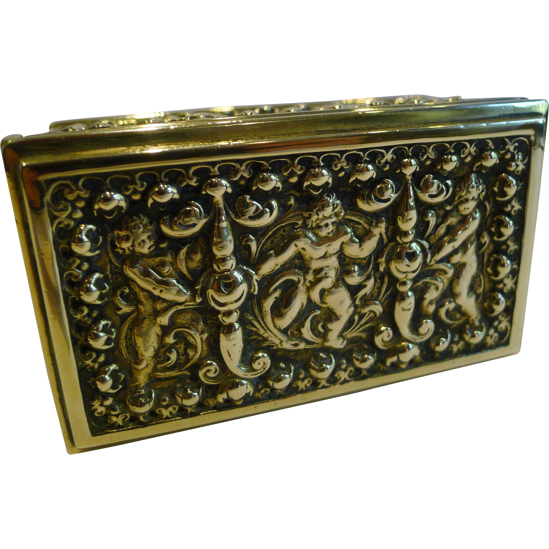 Antique Figural Brass Triple Postage Stamp Box c.1890