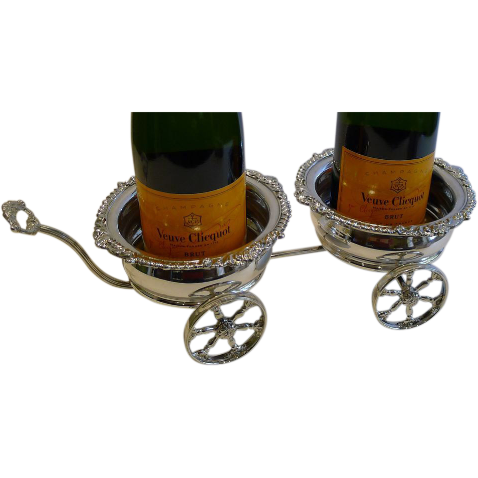 Rare Antique Silver Plated Double Wine / Champagne Coaster Cart by Maple, London c.18