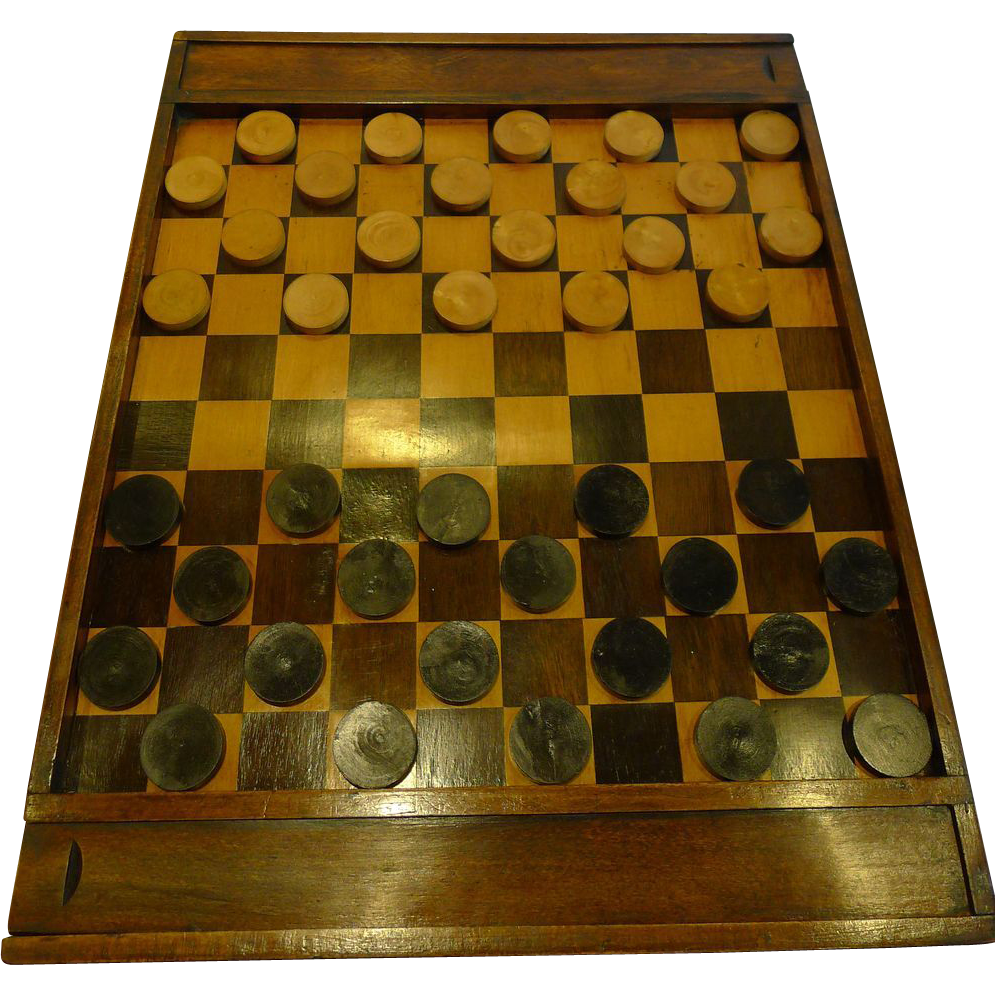 Scarce Antique French Chess / French Checkers Board c.1860